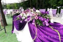 Декорация на младоженска маса в лилаво