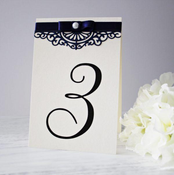 Номер за маса Феерия Цена - 2.20 лв. Изработен от луксозен перлен картон, дантелен елемент и сатенена панделка. Елегантно допълнение към покана Феерия. Размер сгъната - 1,5x15 см.