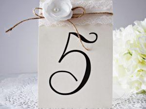 Номер за маса Ретро Цена - 2.30 лв. Изработен от перлен картон дантел, канап и ръчно изработено цвете. Елегантно допълнение към покана Ретро. Размер сгъната - 1,5x15 см.