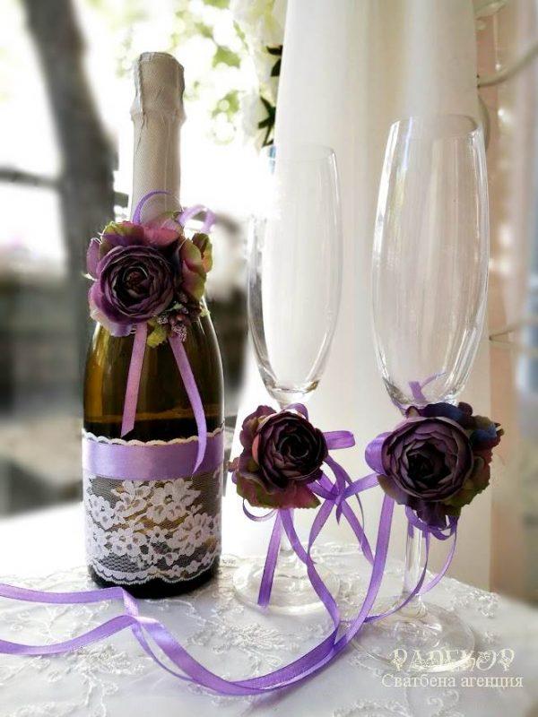 """Сватбено шампанско и украса за чаши """"Чар"""""""