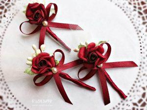 Бутониера Дивна - бордо Бутониера за закичване на ревер Ръчно изработена бутониера, за закичване на гостите на сватбата,