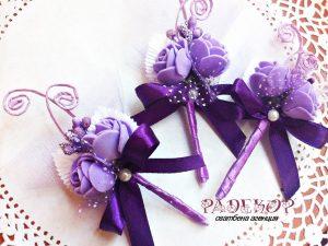Сватбена бутониера за закичване Букет-лилаво