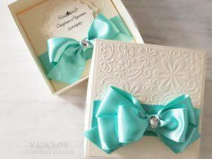 Покана Айвъри - минт. Сватбена покана с кутия. Покана за кумове и родители.