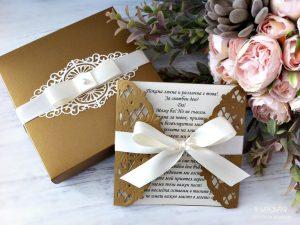 Покана Магнолия Дантелена сватбена покана, допълнена с кутия
