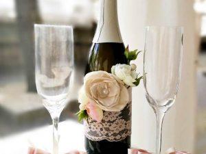 """Сватбено шампанско и декорация за чаши """"Блъш"""""""