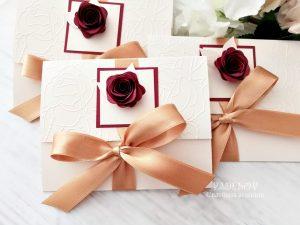 Покана Роуз. Ръчно изработена сватбена покана