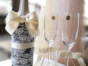 Сватбено шампанско и украса за чаши Айвъри - екрю