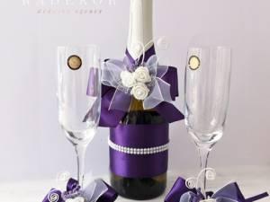 Сватбено шампанско и украса за чаши Букет - лилаво