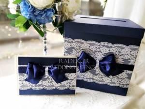 Сватбена кутия за пари и книга за пожелания - Айвъри - тъмно синьо