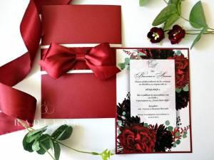 Покана Анабел. Луксозна сватбена покана с акварелен принт с божури.