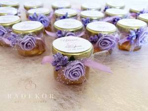 Подаръци за гости Бурканче с медв лилаво и златно