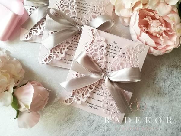 Покана Мелъди - розово и срабърно Дантелена сватбена покана, ръчно изрязана.