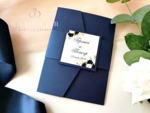 Покана Гардения - тъмно синьо. Акварелни покани за сватба.