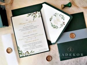 Сватбени покани Оливия. Акварелни покани с маслинови клонки.