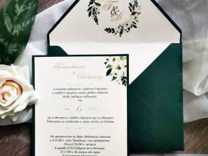 Сватбени покани Амбър. Сватбени покани с акварелни цветя и восъчен печат